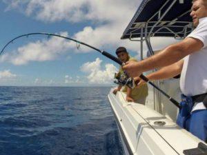 Fishing Charters Zanzibar catching fish whilst jigging.