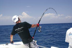 Angler pulling a fish on a half day Zanzibar Fishing Charter